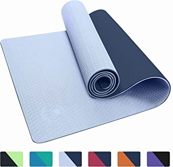 IUGA Yoga Mat Non Slip Textured Surface, Reversible Dual Color, Eco Friendly Yoga Mat with Carrying Strap, Thick Exercise & Workout Mat for Yoga, ...