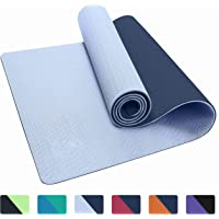 """IUGA Yoga Mat Non Slip Textured Surface, Reversible Dual Color, Eco Friendly Yoga Mat with Carrying Strap, Thick Exercise & Workout Mat for Yoga, Pilates and Fitness (72""""x 24""""x 6mm)"""