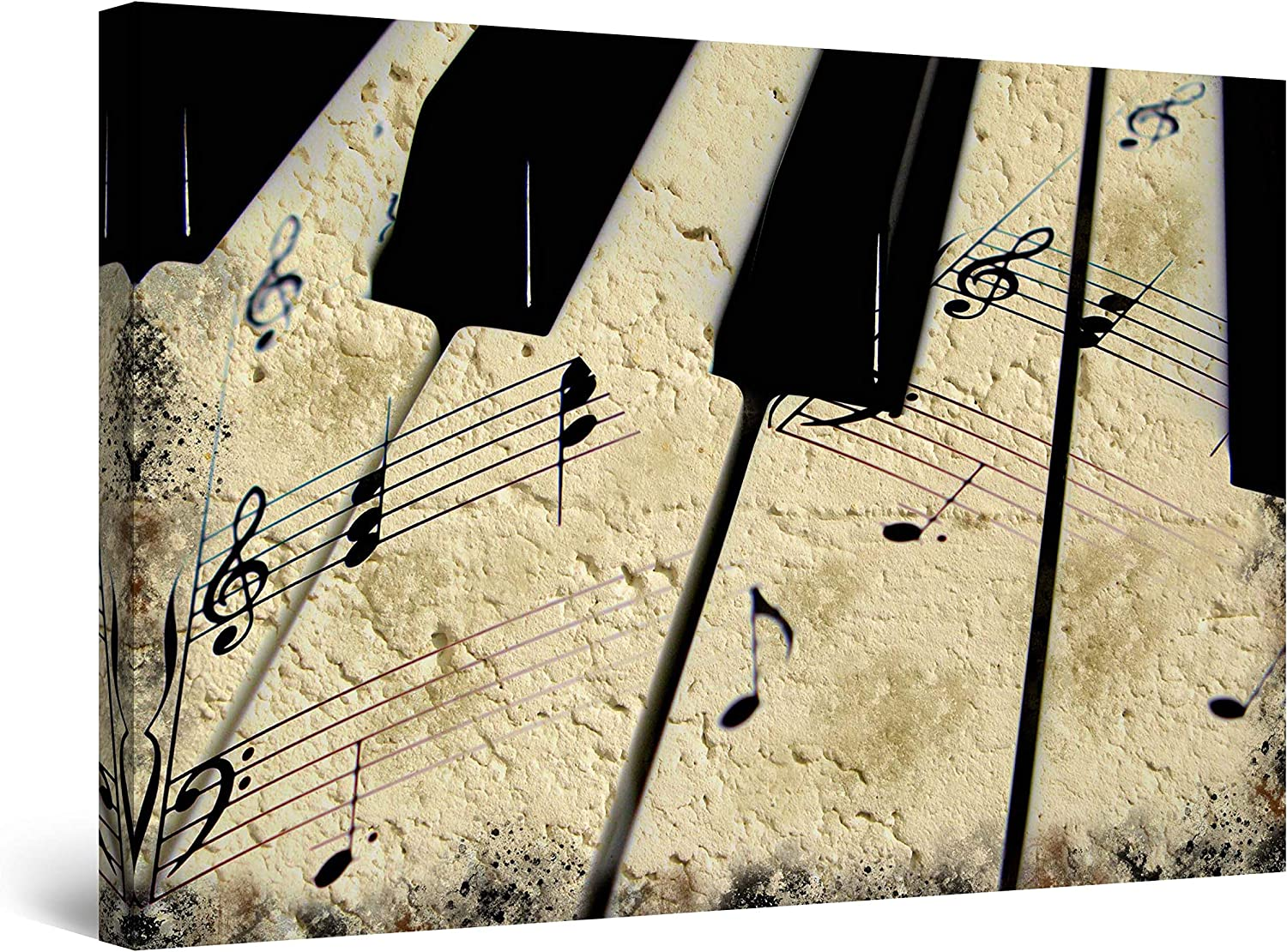 service Inexpensive Startonight Canvas Wall Art - Black Vintage White Piano and Mus