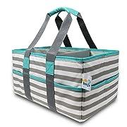Early Hugs Diaper Caddy, Nursery Storage Organizer, Baby Gift Bag, Gray & Teal