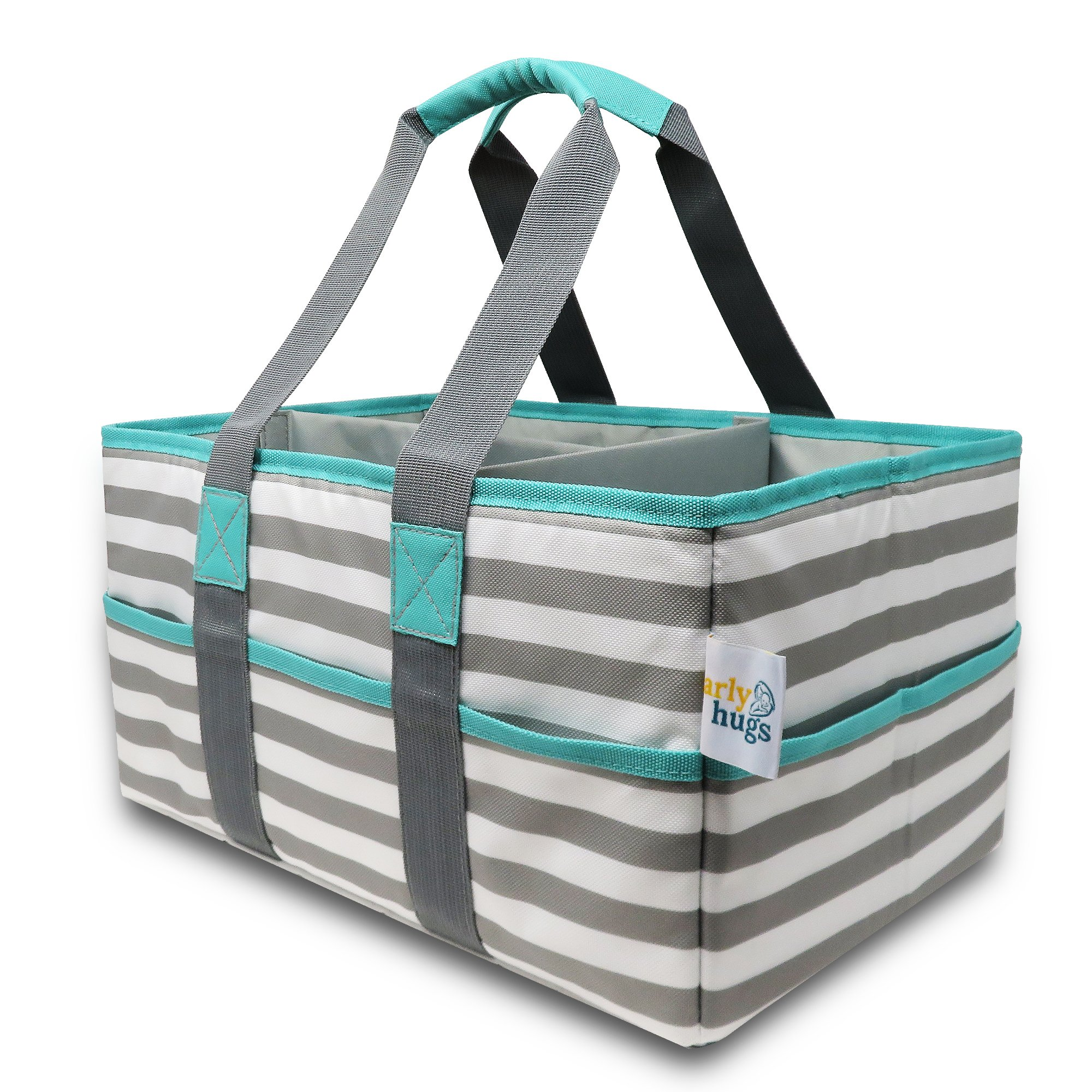 Diaper Caddy Organizer | Extra Large, Non-Toxic, Sturdy, Durable, 100% Polyester Diaper and Nursery Organizer, Diaper Storage Caddy, Baby Gift Basket, Toy Storage | Gray, White, Teal, Light Blue