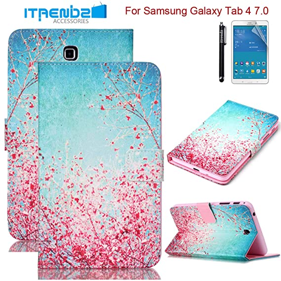 finest selection be74f 0ecb3 Galaxy Tab 4 7.0 Case, Tab 4 7.0 Case, Itrendz [Cute Case] Cherry Blossoms  PU Leather Flip Case [Card Slot Case] [Magnetic Closure] Stand Smart Cover  ...