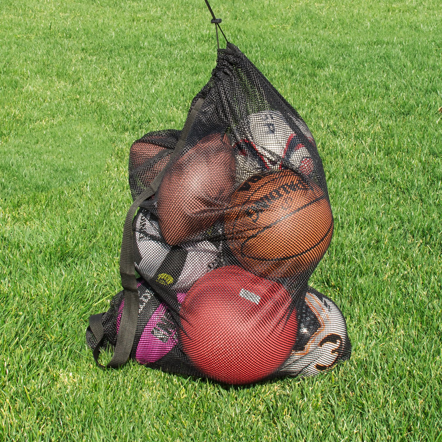 Super Z Outlet Sports Ball Bag Drawstring Mesh - Extra Large Professional Equipment with Shoulder Strap Black (30'' x 40'' Inches) by Super Z Outlet (Image #1)