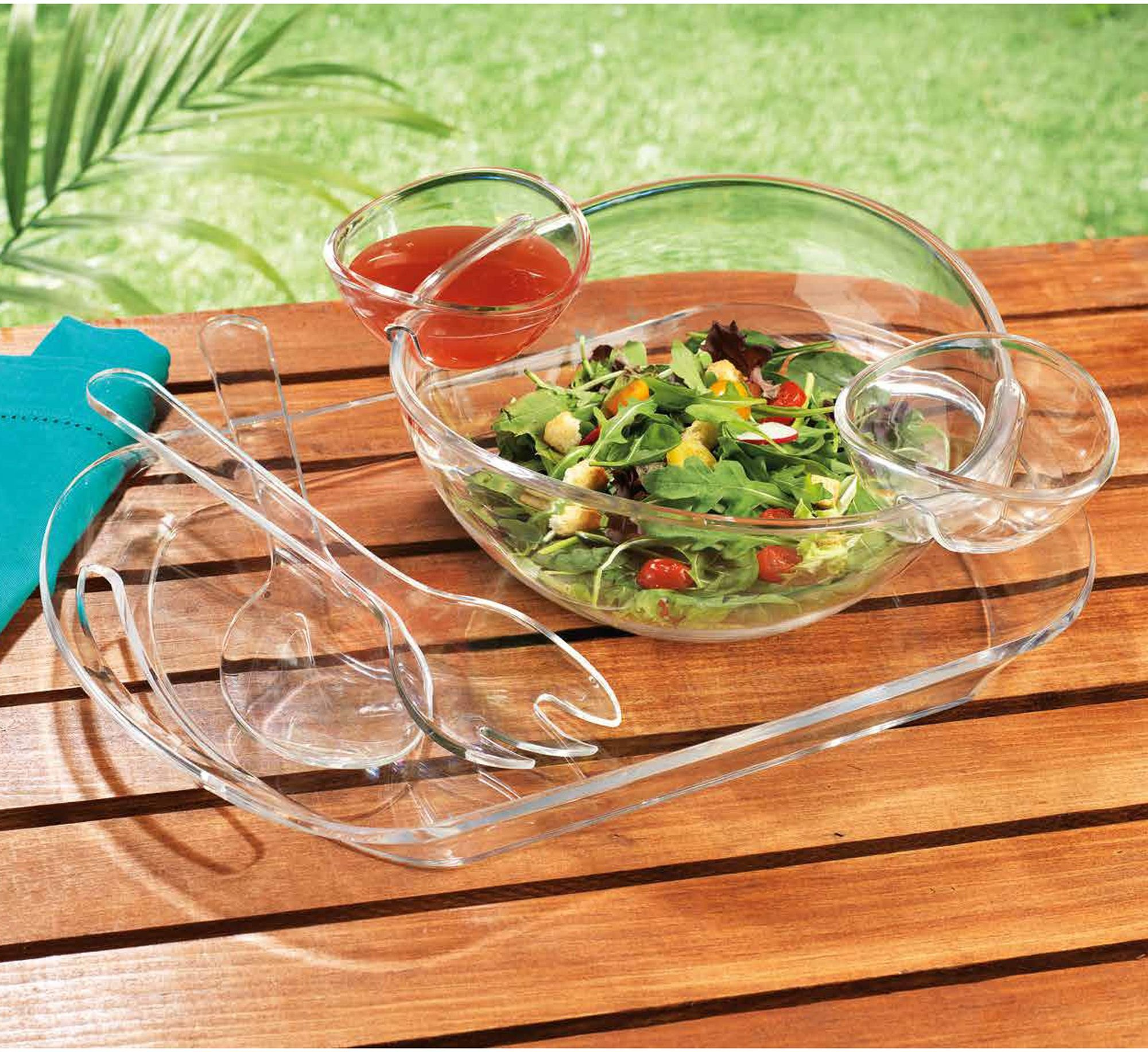 Elegant Home Acrylic 6 PC Salad Serving Set | Chip & Dip Bowl With Serving Utensils on Tray.