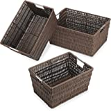 Whitmor Rattique Storage Baskets Set of 3, Java