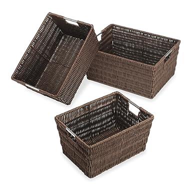 Whitmor Rattique Storage Baskets Java Set of 3 Pieces