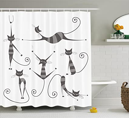 Ambesonne Cat Shower Curtain Furry Skinny Striped Cats In Several Funny Body Postures Whiskers Feline
