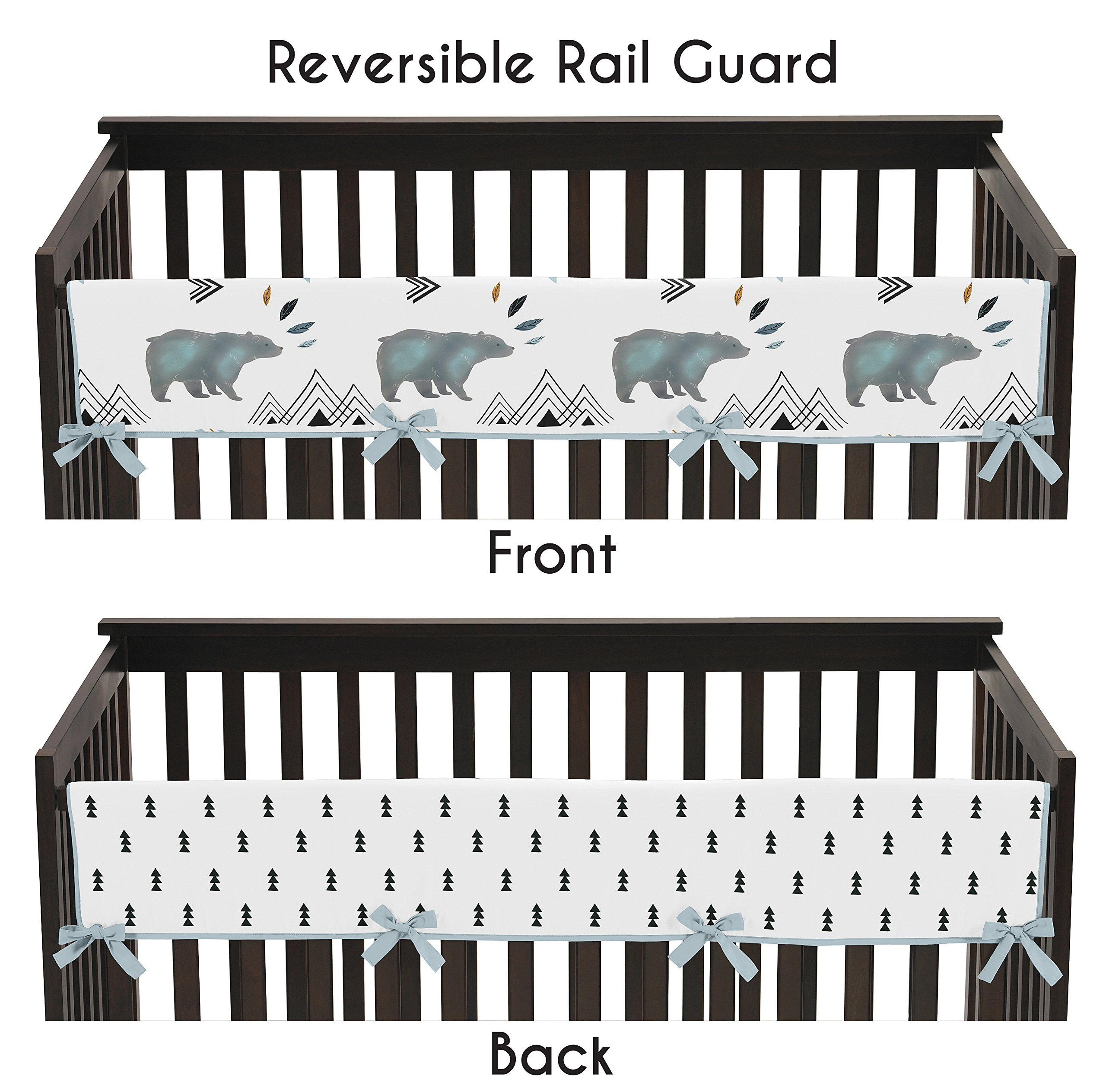 Sweet Jojo Designs Long Front Crib Rail Guard Baby Teething Cover Protector Wrap for Bear Mountain Watercolor Collection by