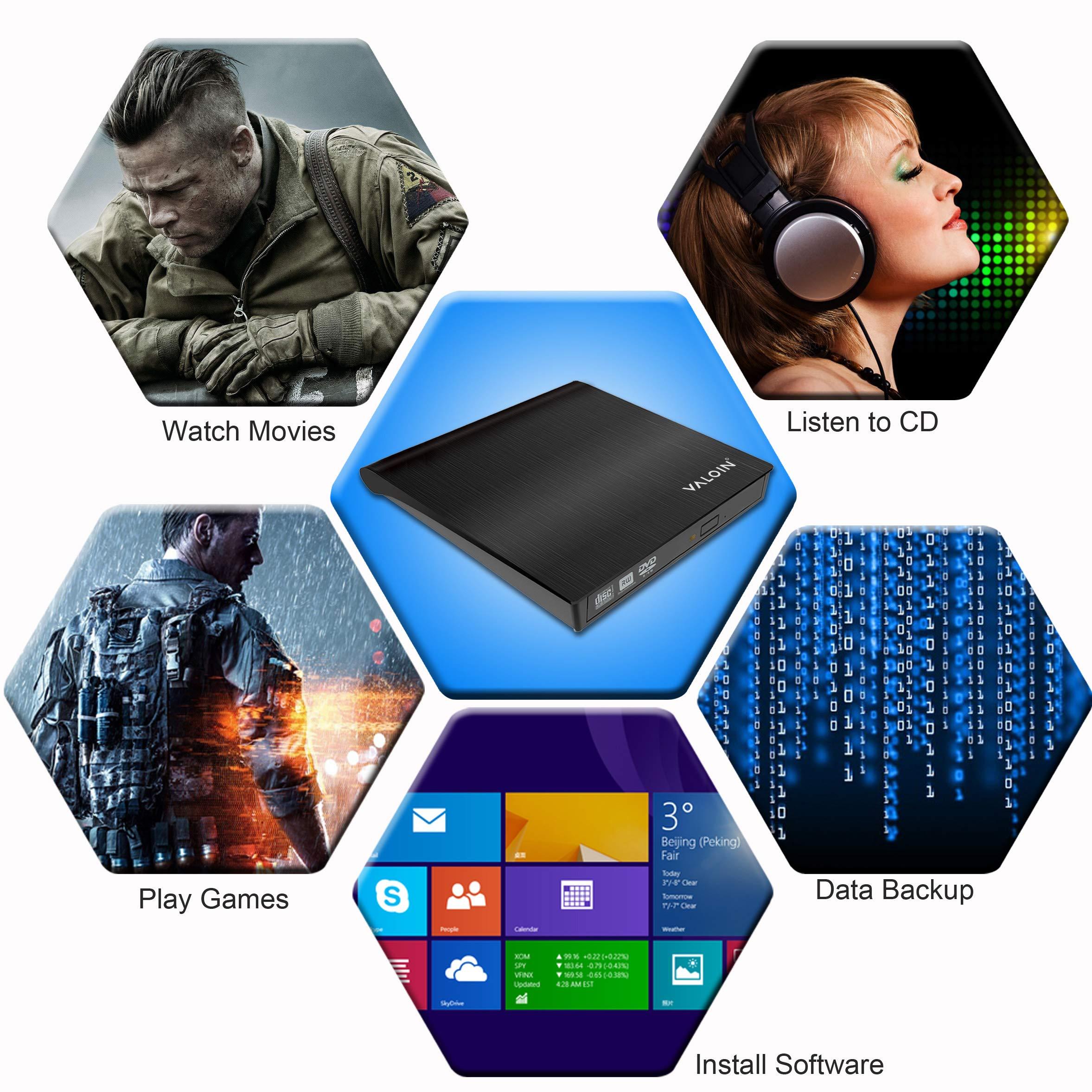 [2019 New Version]External DVD Drive,USB 3.0 Portable Ultra-Slim CD-RW ROM Drive Player Burner Writer Rewriter,Plug and Play by Valoin (Image #6)