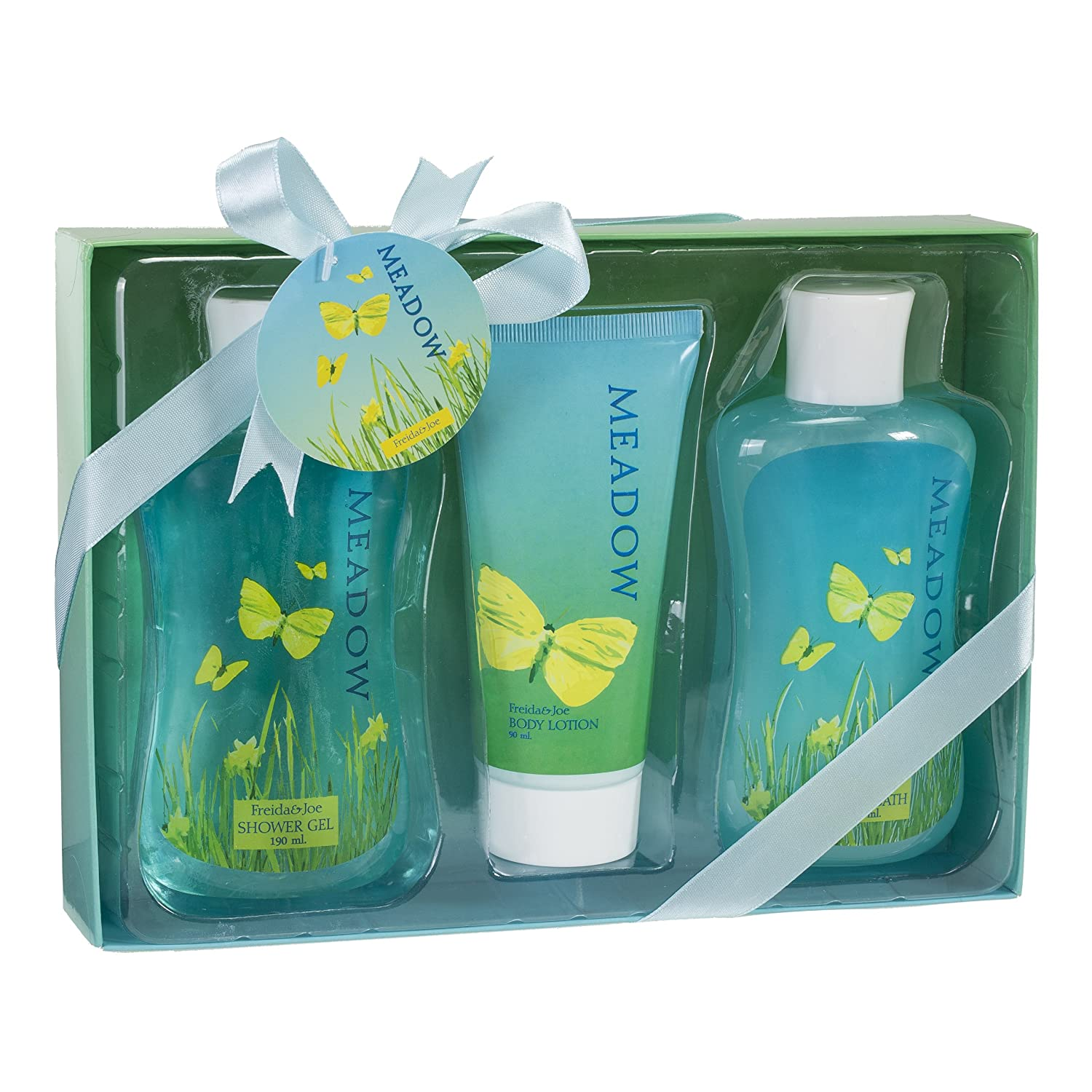 Bath, Body, and Spa Gift Set for Women, in Fresh Meadow Fragrance, Includes a Shower Gel, Bubble Bath, and Body Lotion, with Shea Butter and Vitamin E to Moisturize and Nourish Skin