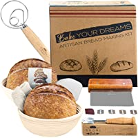 Shori Bake Banneton Bread Proofing Basket Set of 2 Round 9 Inch + Sourdough Bread Making Tools Kit, Baking Gifts for…