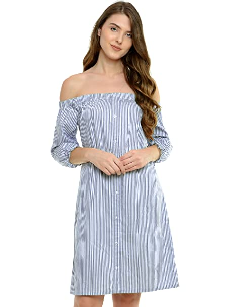43ebfc711a84 Miss Chase Womens Blue and White Off Shoulder Dress(MCSS17D09-24-21-