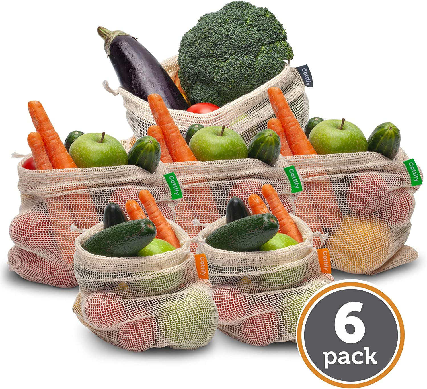 6 Reusable Organic Cotton Produce Bags - Bulk Pack of 6 Mesh | Eco Friendly | Double-Stitched & Tare Weigh & Drawstring | Fruits & Vegetable Bag | Machine Washable | LIGHTWEIGHT | 3 sizes (2S, 3M, 1L)