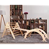 Triangle with Ramp and Arch - Montessori Climbing Toys for Kids - Set of 3, N. Wood (Large Size)
