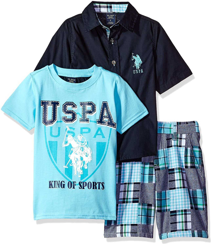 Boys Patchwork Short Crew Neck T Woven Shirt U.S Polo Assn