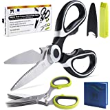 Kitchen Scissors and Herb Scissors by Marvel Merchant | Ultra Sharp Heavy Duty Kitchen Shears with Plastic Covers | Stainless Steel Multi-Function Meat Scissors w/Micro Serrated Large Blades