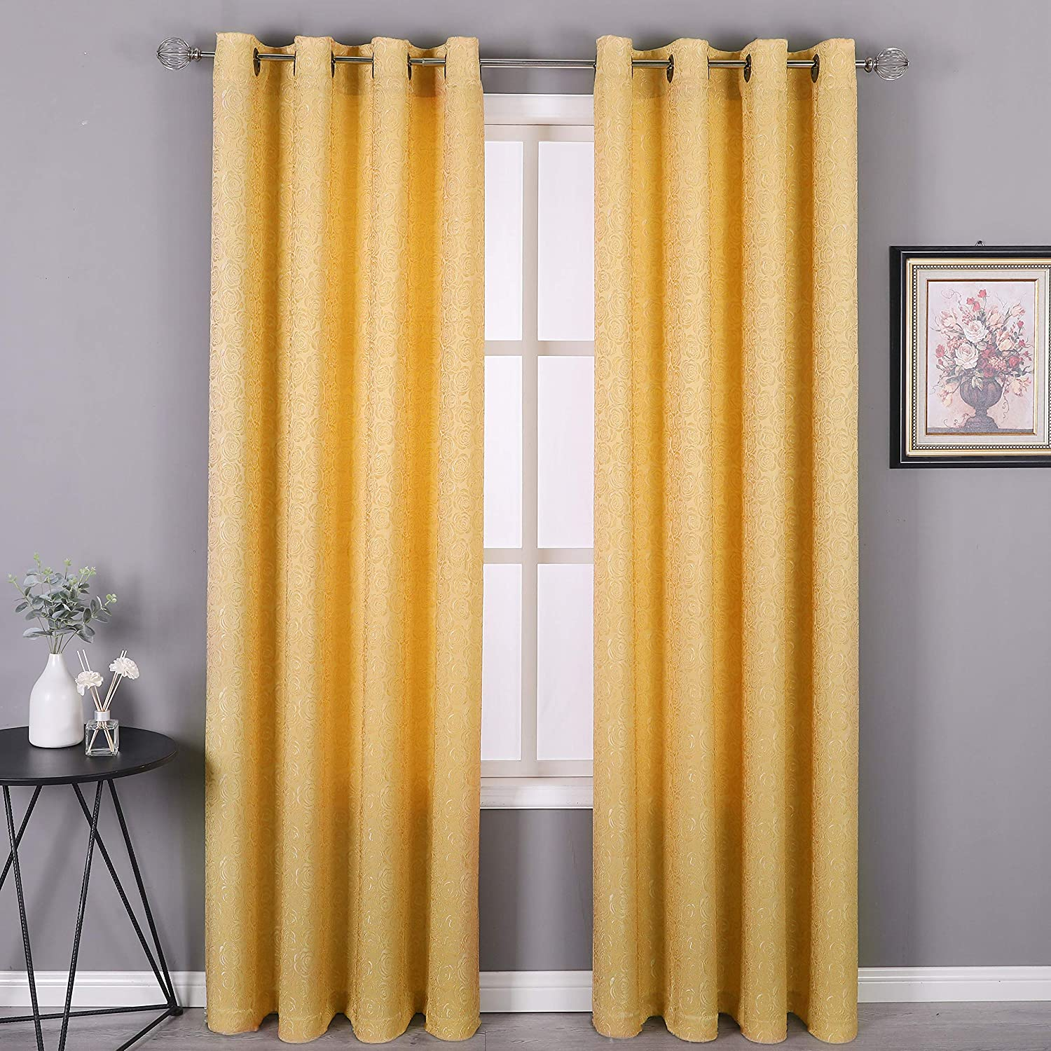 HEJEME Gold Curtains 2 Panels (54 x 84inches) with Elegant Rose Jacquards - Semi Blackout Room Darkening Drapes with Grommets Top for Bedroom Living Room
