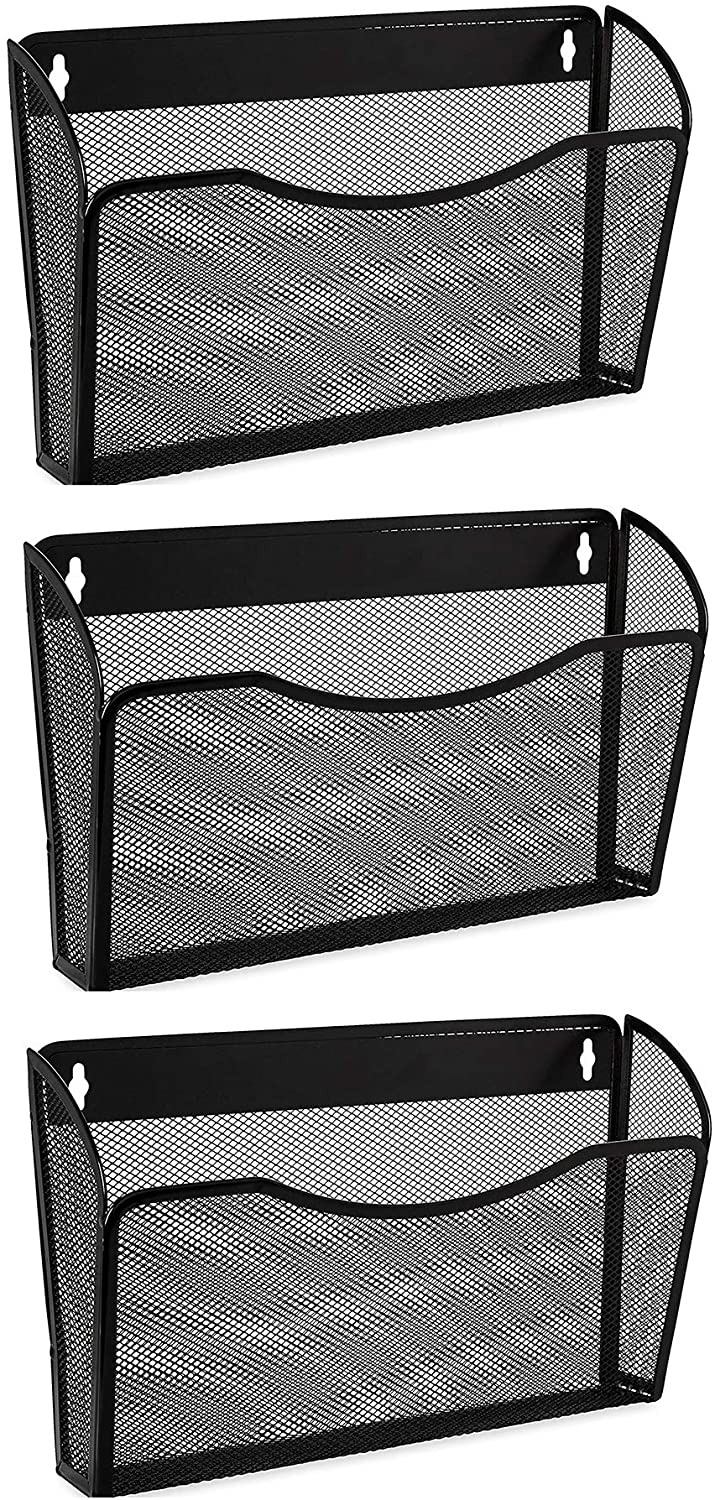 Easepres Mesh 3 Pockets File Organizer Hanging File Organizer Vertical Wall File Organizer Holder Rack