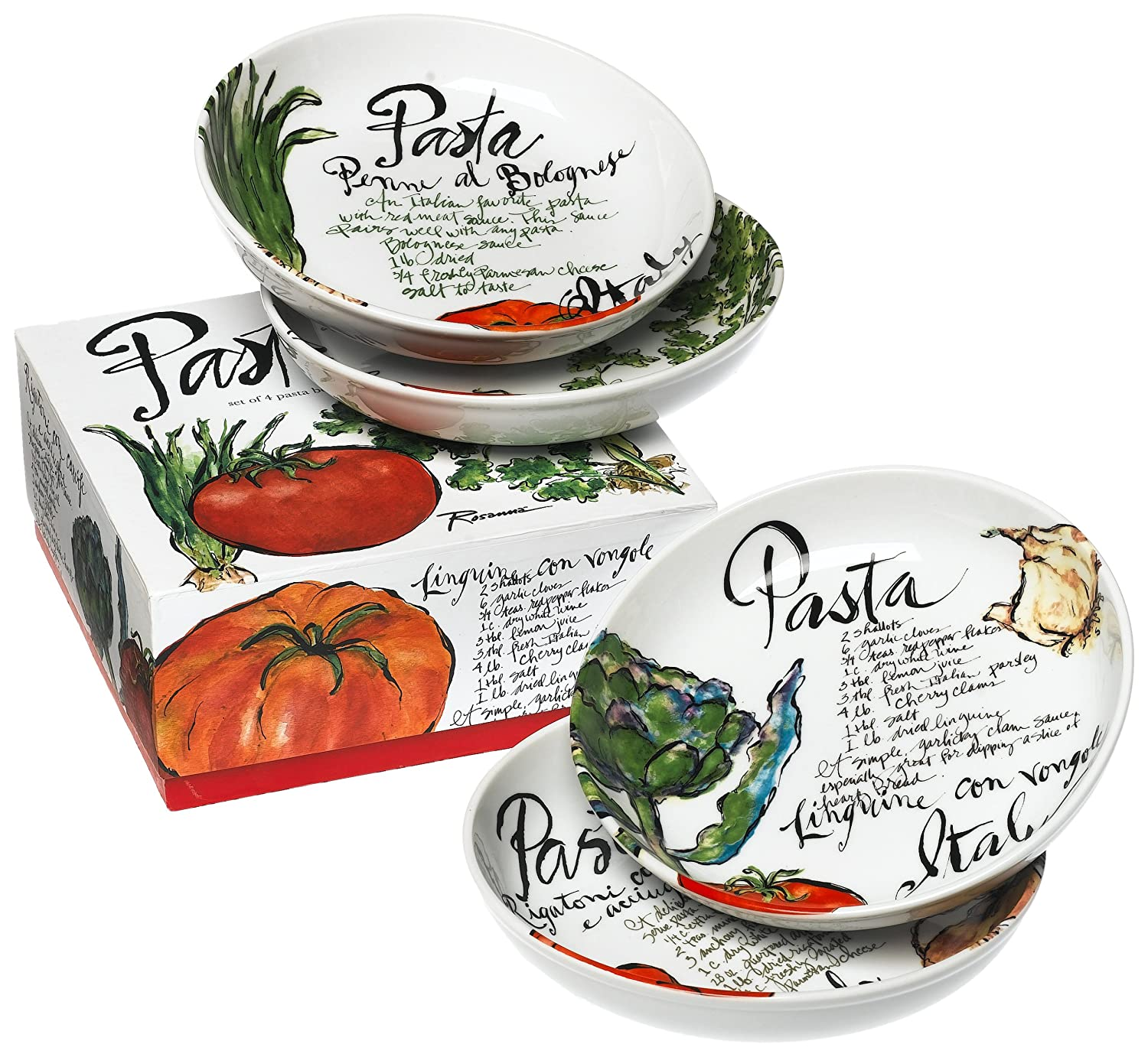 Amazon.com: Rosanna Pasta Italiana Pasta Bowls Set of 4: Kitchen ...