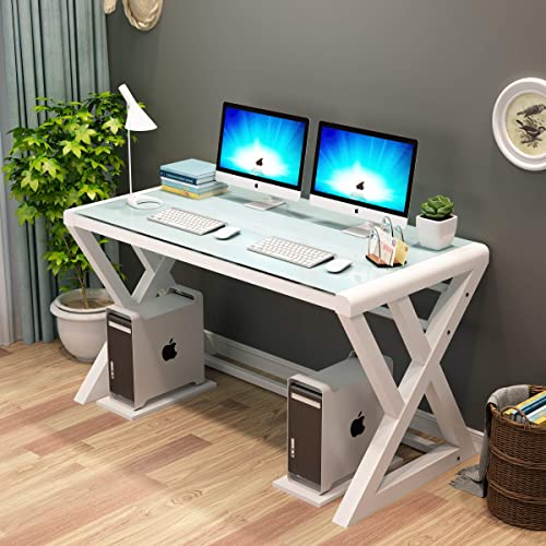 URRED Computer Desk Glass Top and Metal Frame