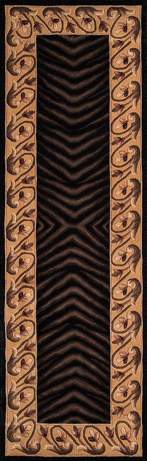 Momeni Rugs NEWWANW-09BLK2030 New Wave Collection, 100% Wool Hand Carved & Tufted Contemporary Area Rug, 2' x 3', Black 2' x 3' Inc.