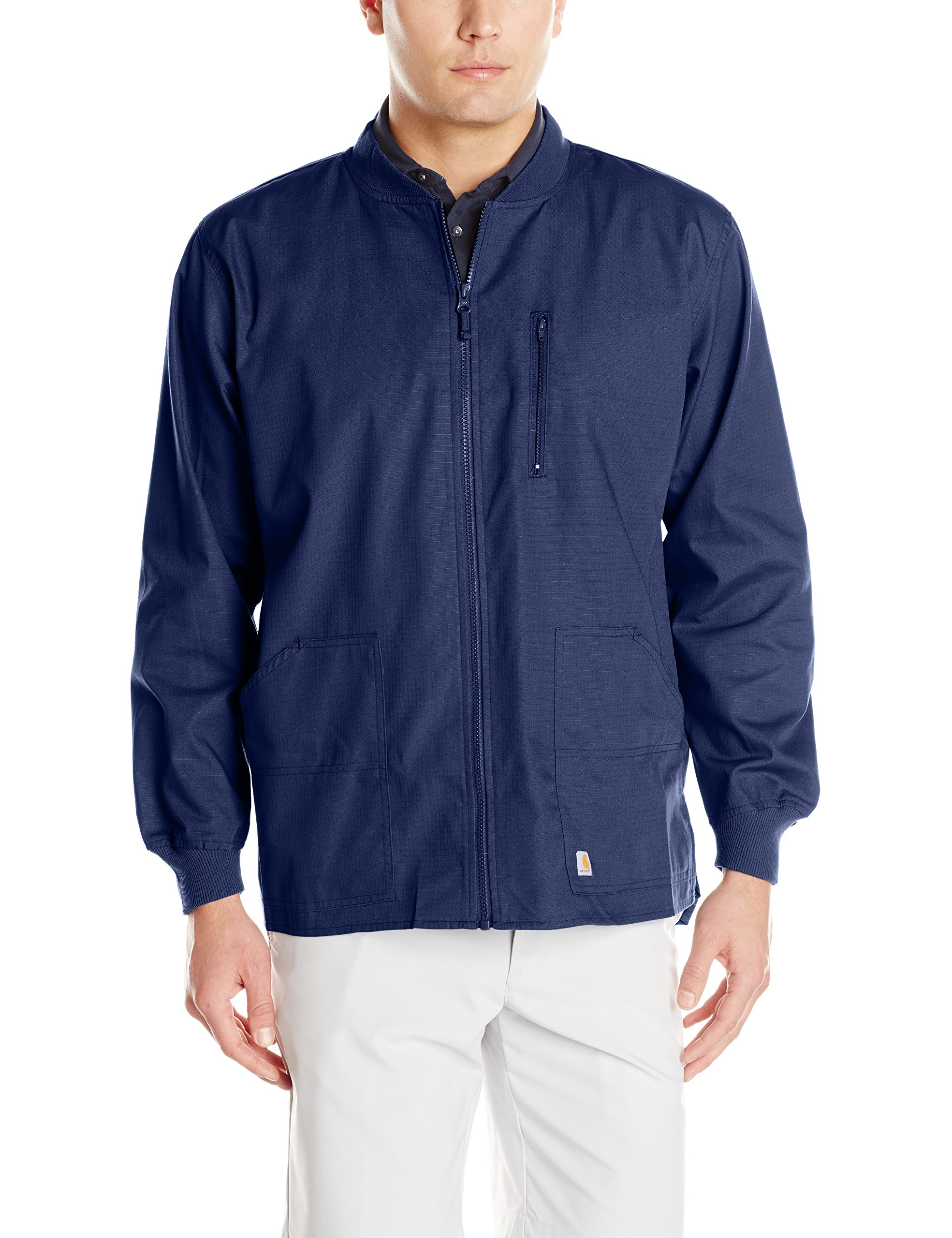 Carhartt Men's Ripstop Zip Front Scrub Jacket, Navy, Large