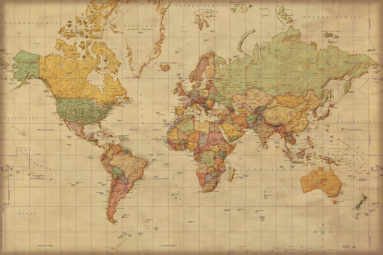 Landkarten - Weltkarte Antik deutsche Version - Educational ...