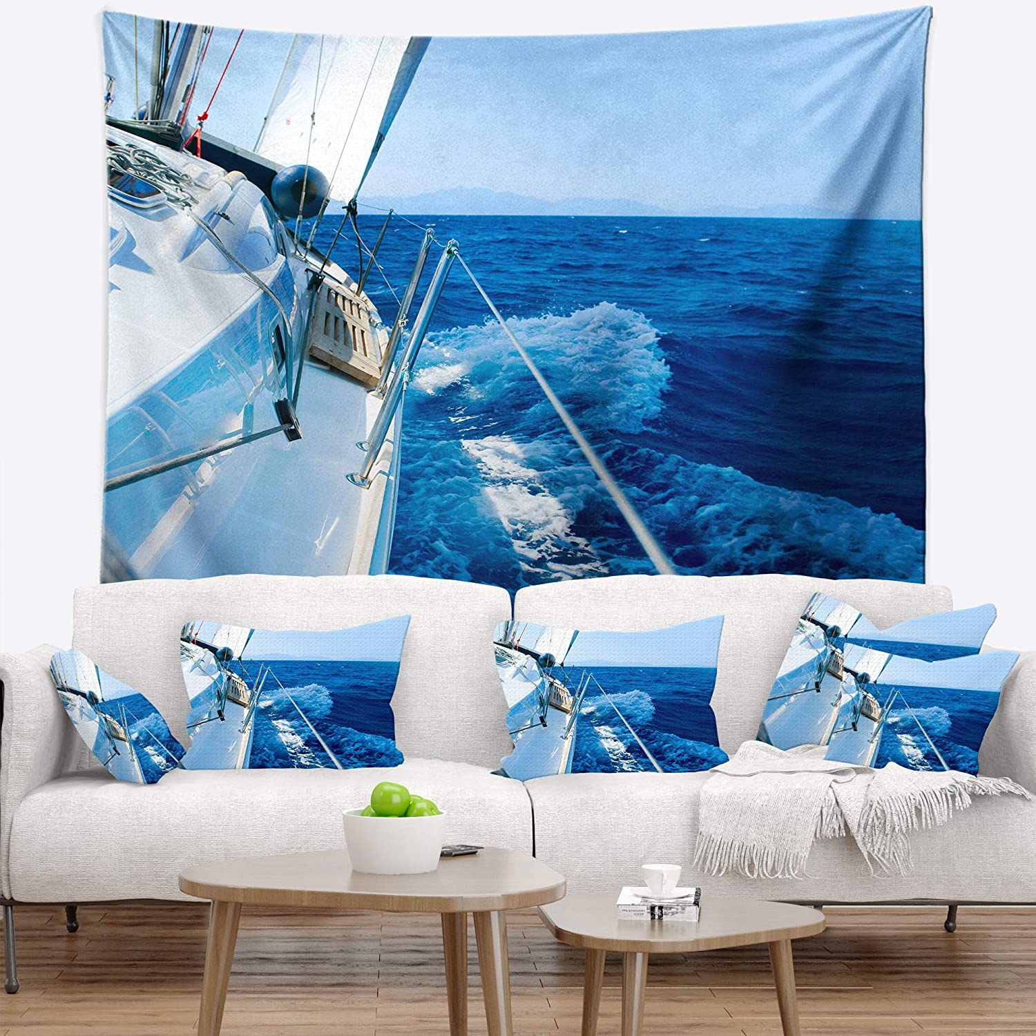 Designart TAP14264-39-32  Tourism Yacht Sailing in Blue Sea Seashore Blanket D/écor Art for Home and Office Wall Tapestry Medium Created On Lightweight Polyester Fabric x 32 in 39 in