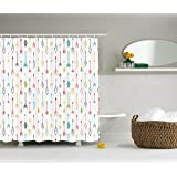 Ambesonne Arrow Decor Collection, Color Pen Doodle Style Fun Art with Arrows Picture, Polyester Fabric Bathroom Shower Curtain Set with Hooks, Coral Yellow Green