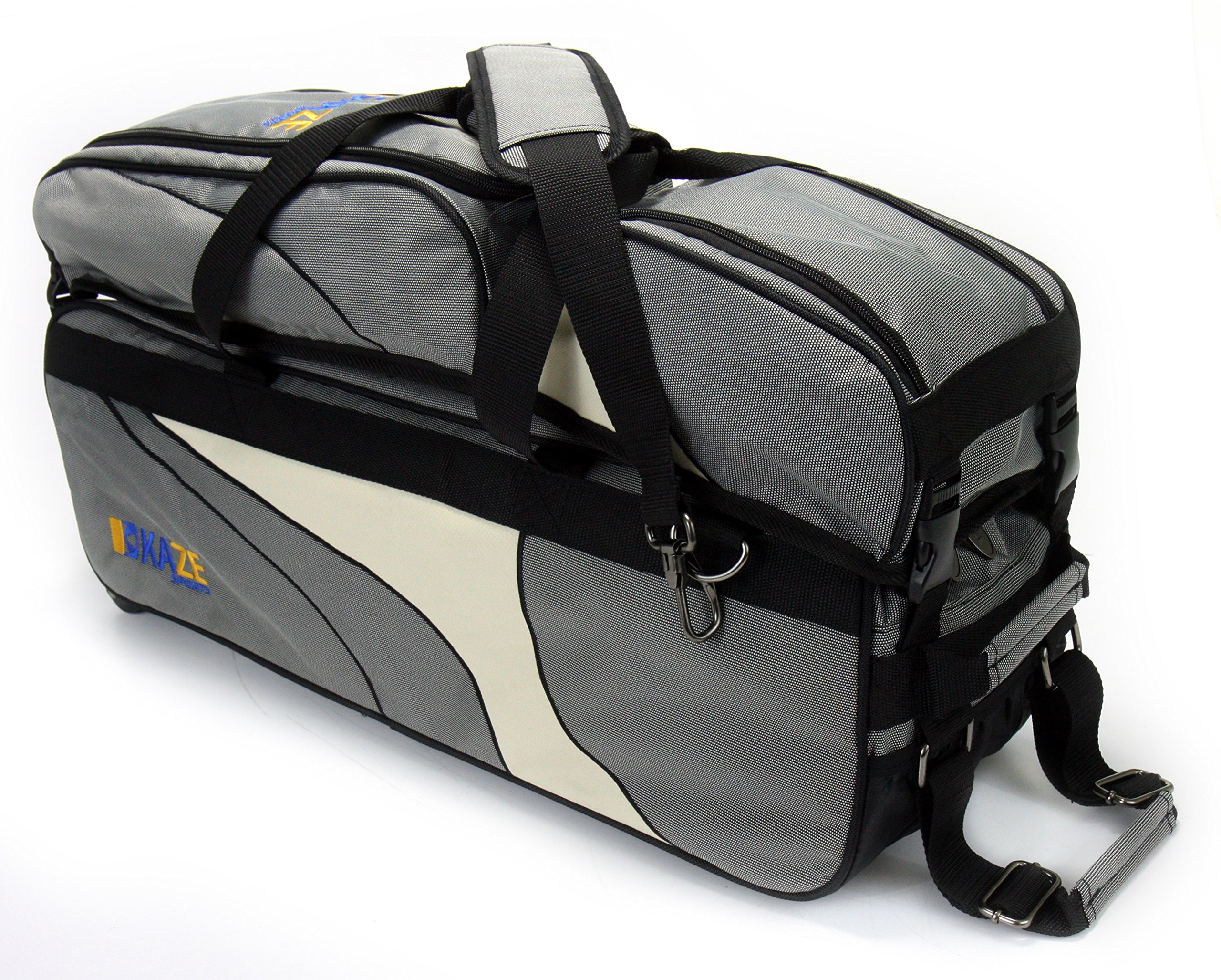 KAZE SPORTS 3 Ball Deluxe Bowling Tournament Roller Tote with Detachable Shoe & Accessory Bag, Gray