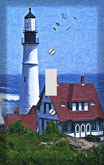 Lighthouse Nautical Light Switch Triple Plate Cover