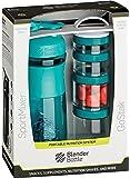 BlenderBottle Combo Pak - Sportmixer Shaker und Gostak Starter 4Pak mit Henkel in einer attraktiven Geschenkverpackung - teal