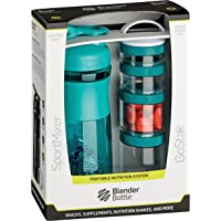 BlenderBottle Combo Pak – mikser sportowy shaker o pojemności 820 ml i zestaw startowy GoStak 4 sztuki z uchwytem w…