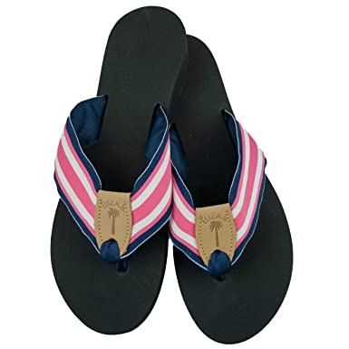 Amazon.com  Eliza B Pink and Navy Ribbon Sandal with Black Sole ... 8090b4a2c814