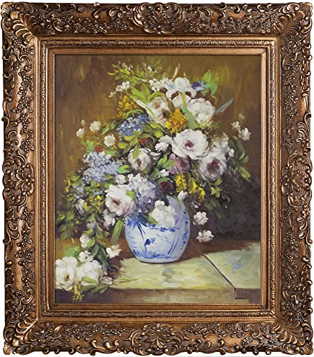 overstockArt Grande Vase Di Fiori by Pierre-Auguste Renoir Hand Painted Oil on Canvas with Brasovia Frame, 26.5 x 30.5 , Burgeon Frame, 33.5 x 29.5