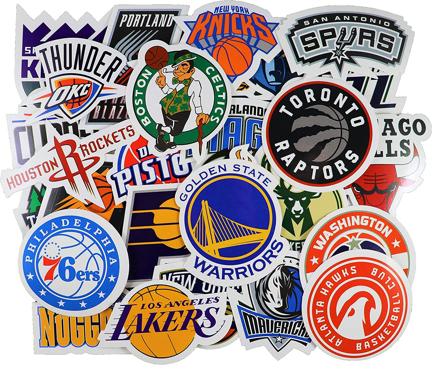 30pcs NBA Team Stickers Creative DIY Stickers Funny Decorative Cartoon for Cartoon PC Luggage Computer Notebook Phone Home Wall Garden Window Snowboard