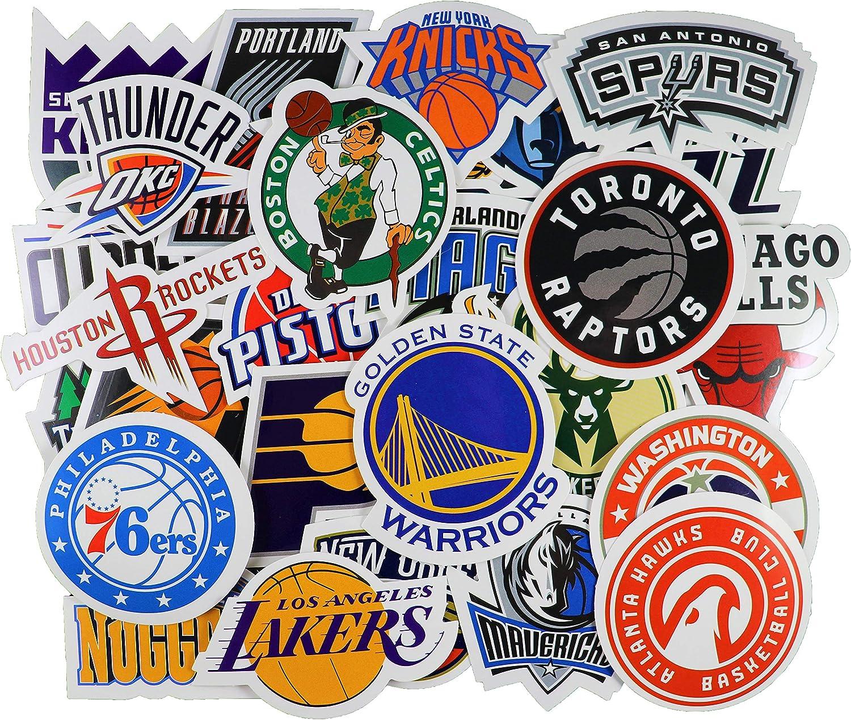 30pcs NBA Team Stickers Creative DIY Stickers Funny Decorative Cartoon for Cartoon PC Luggage Computer Notebook Phone Home Wall Garden Window Snowboard