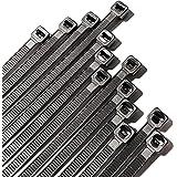 TieRock Black Zip Ties 8 Inch Pack 100 Heavy Duty Industrial Nylon with 50lbs Tensile Strength - Self Locking UV…