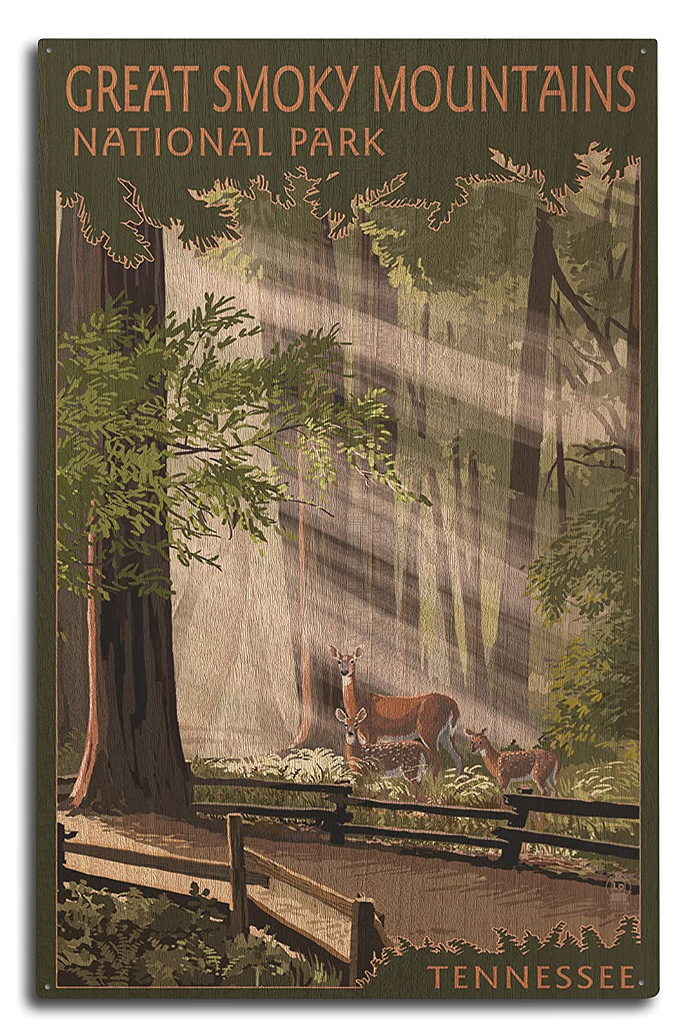 GREAT SMOKY MOUNTAINS、テネシー州 – Pathway In Trees 10 x 15 Wood Sign LANT-46535-10x15W 10 x 15 Wood Sign  B07367J6J3