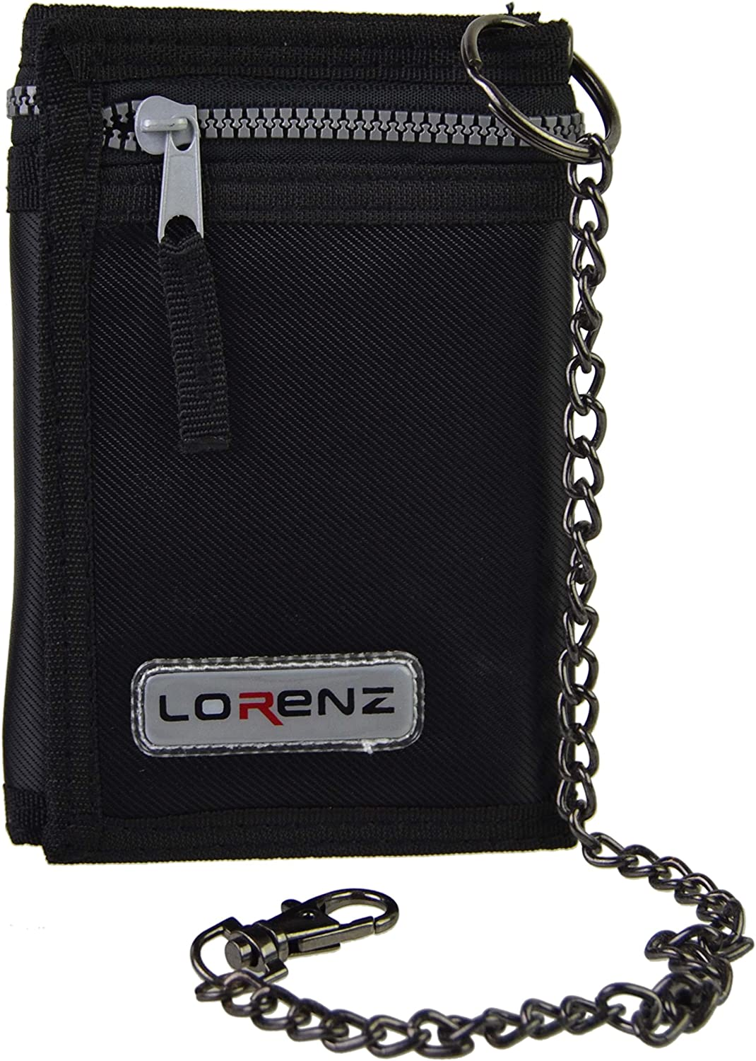 NEW Mens Boys BLACK  Tri-fold Wallet with Security Chain.