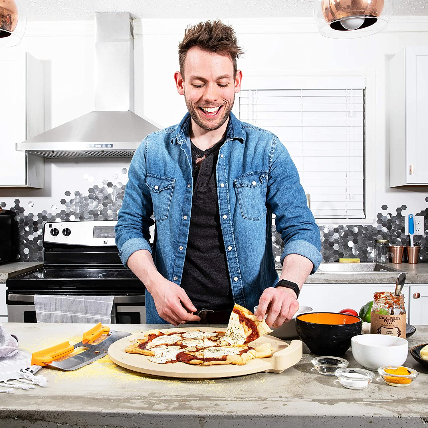The Ultimate Pizza Stone for Oven Grill. 16 inch Round Baking Stone with Exclusive ThermaShock Protection Core Convection Tech for the Perfect Crispy Crust on Pizzas Bread. No-Spill Stopper