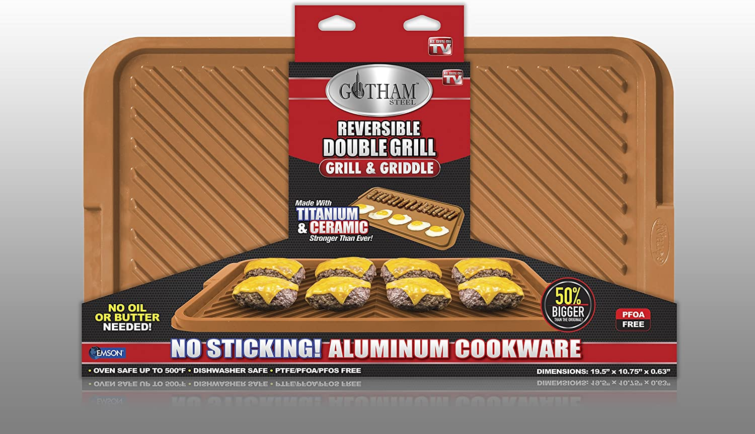 Brown XL Aluminum GOTHAM STEEL Double Grill
