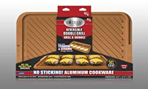"Gotham Steel Rectangular Extra-Large Double Grill 19.5"" x 10.75"""