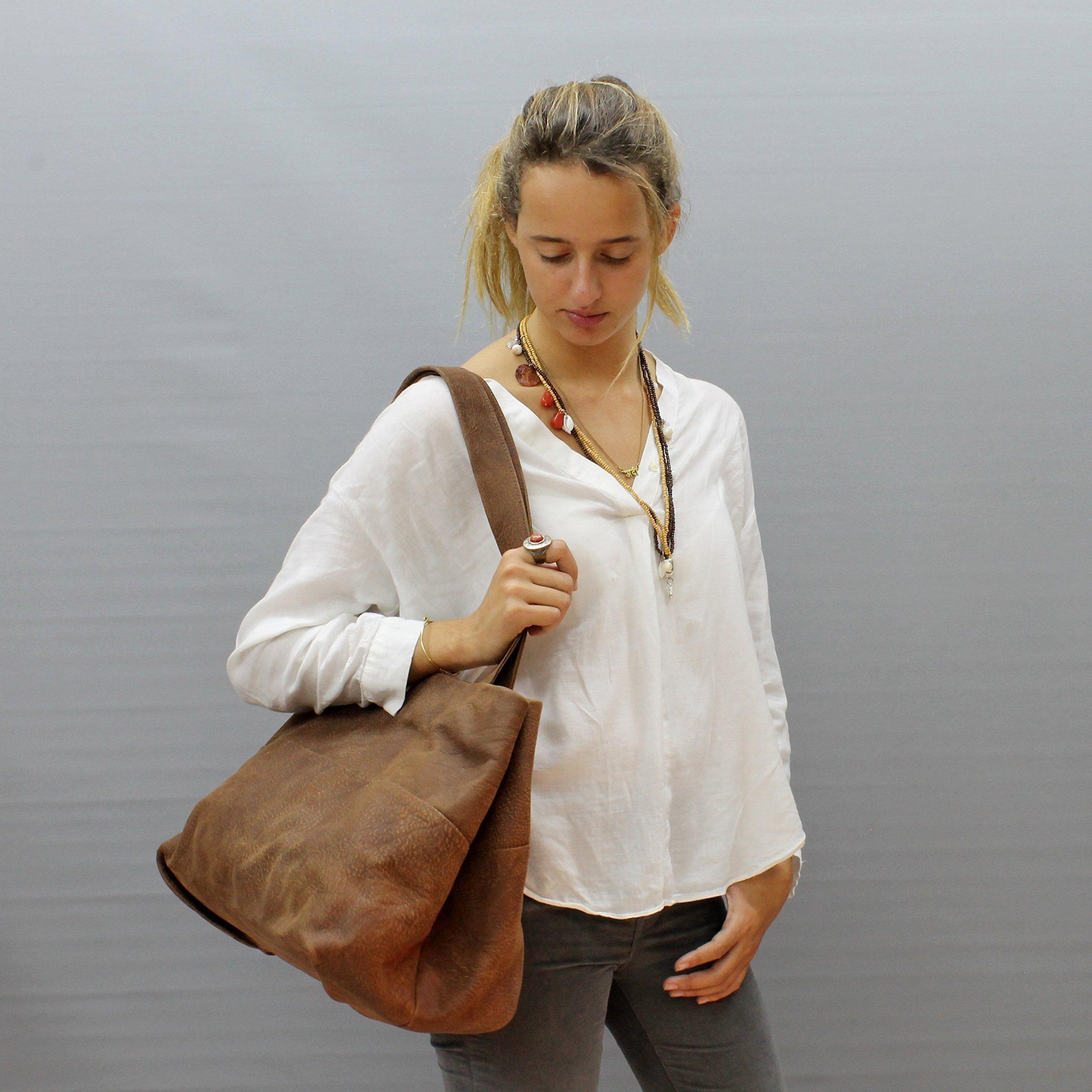 Distressed brown leather bag tote bag Large leather handbag Handmade purse