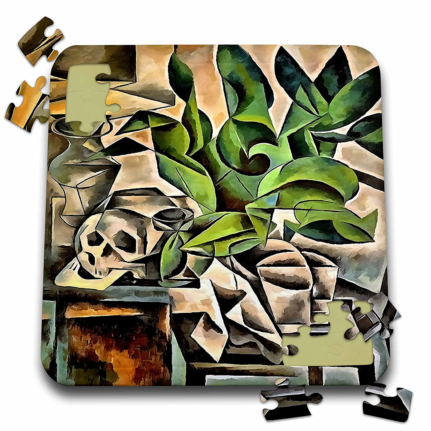 Taiche - Acrylic Painting - Skulls - Still Life with Skull After Bohumil Kubista - 10x10 Inch Puzzle (pzl_245567_2)