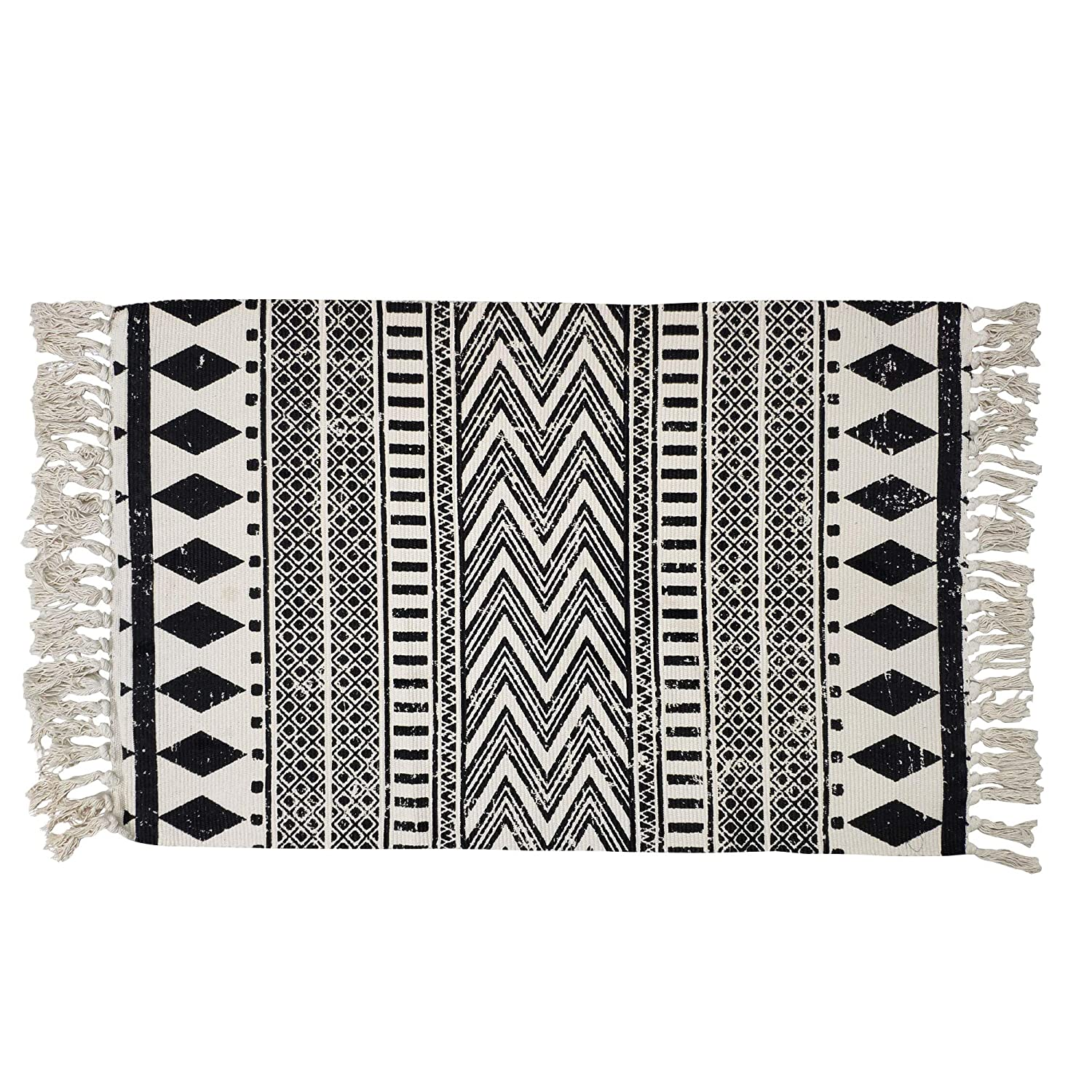 USTIDE Cotton Braided Black&Cream Bohemian Rag Rug Washable Decorative Doormat Hand Woven Tassel Rug, 2'×3'