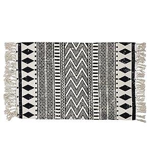 USTIDE Cotton Braided Black&Cream Bohemian Rag Rug Washable Decorative Doormat Hand Woven Tassel Rug, 2'×3'