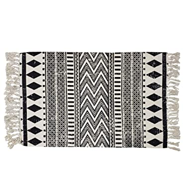 USTIDE Cotton Braided Black&Cream Bohemian Rag Rug Washable Decorative Porch Doormat Hand Woven Tassel Rug, 2'×3'