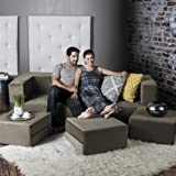 Jaxx Zipline Convertible Sleeper Sofa & Three Ottomans / California King-Size Bed, Mocha