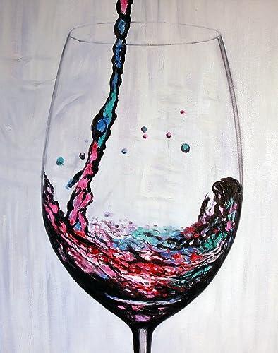 artocrat Premium Wine at The Delano Hand-Painted Canvas Art Original 100 Hand-Painted Design, Exquisite Oil Painting Technique, Vibrant Colors, 16 x20 Canvas, Modern Home Office Decor Idea